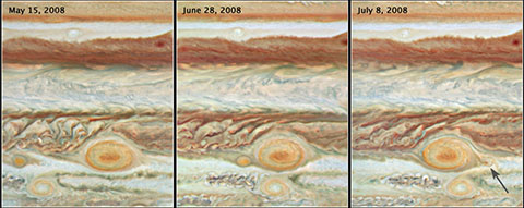 Storms on Jupiter