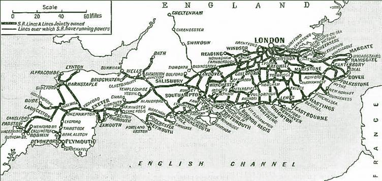 Southern Railway lines map, completely omitting the Great Western Railway lines between Exeter and Plymouth