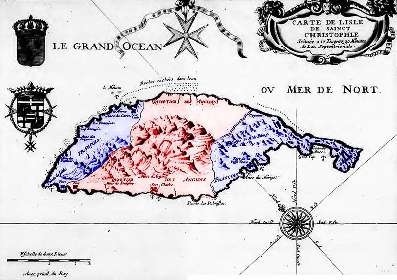 Map of St Kitts showing French/English partition
